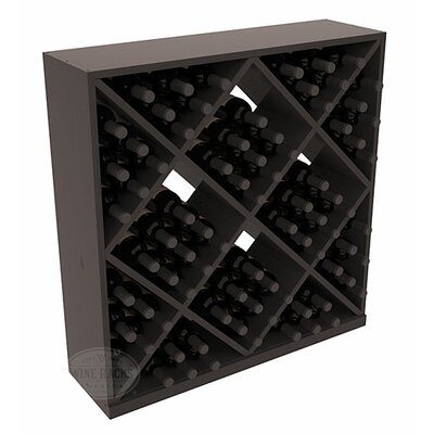 Karnes Pine Diamond Cube 82 Bottle Floor Wine Rack Finish: Black Satin