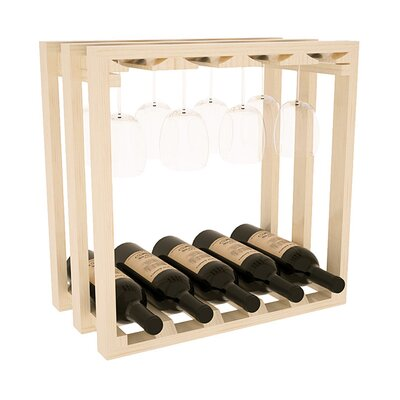 Karnes Pine Lattice Stemware Cube 10 Bottle Tabletop Wine Rack Finish: Natural Satin