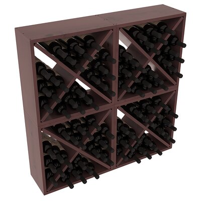 Karnes Pine Rustic Cube 96 Bottle Floor Wine Rack Finish: Walnut Satin