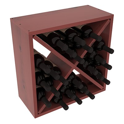Karnes Pine Rustic Cube 24 Bottle Tabletop Wine Rack Finish: Cherry Satin