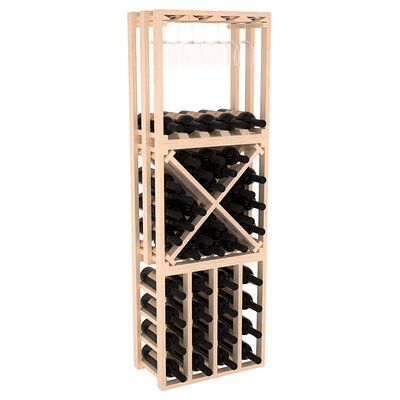 Karnes Pine Lattice Stacking Cube 45 Bottle Floor Wine Rack Finish: Natural
