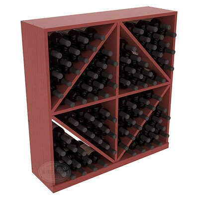 Karnes Pine Diamond Storage 96 Bottle Floor Wine Rack Finish: Cherry Satin