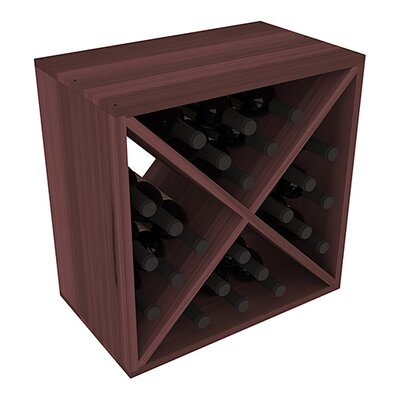 Karnes Redwood X-Cube 24 Bottle Tabletop Wine Rack Finish: Walnut