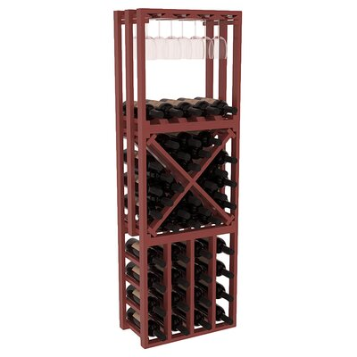 Karnes Pine Lattice Stacking Cube 45 Bottle Floor Wine Rack Finish: Cherry Satin