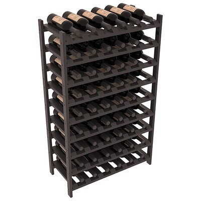 Karnes Pine Stackable 54 Bottle Floor Wine Rack Finish: Black Satin