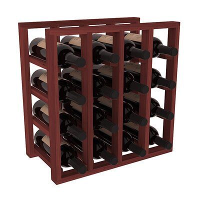 Karnes Redwood Lattice 16 Bottle Tabletop Wine Rack Finish: Cherry