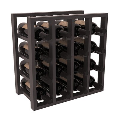 Karnes Pine Lattice 16 Bottle Tabletop Wine Rack Finish: Black Satin