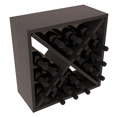 Karnes Pine Rustic Cube 24 Bottle Tabletop Wine Rack Finish: Black Satin