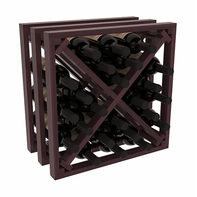 Karnes Redwood Lattice X-Cube 24 Bottle Tabletop Wine Rack Finish: Burgundy Satin