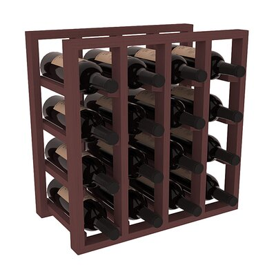 Karnes Pine Lattice 16 Bottle Tabletop Wine Rack Finish: Walnut