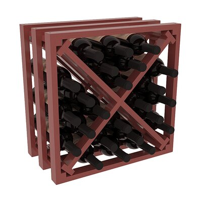 Karnes Pine Lattice X-Cube 24 Bottle Tabletop Wine Rack Finish: Cherry Satin