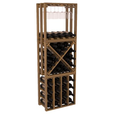 Karnes Redwood Lattice Stacking Cube 45 Bottle Floor Wine Rack Finish: Oak Satin