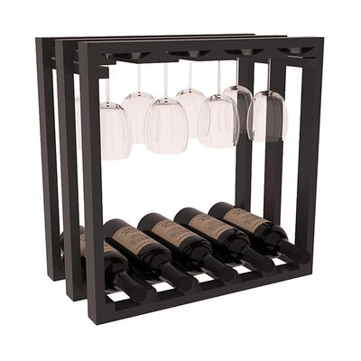 Karnes Pine Lattice Stemware Cube 10 Bottle Tabletop Wine Rack Finish: Black Satin