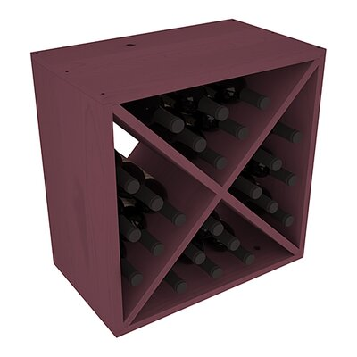 Karnes Pine X-Cube 24 Bottle Tabletop Wine Rack Finish: Burgundy