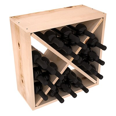 Karnes Pine Rustic Cube 24 Bottle Tabletop Wine Rack Finish: Natural