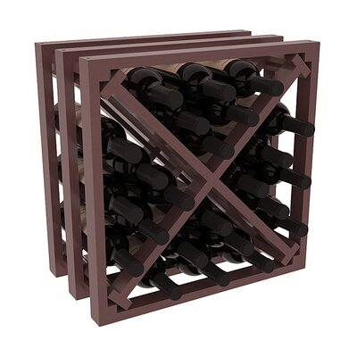 Karnes Pine Lattice X-Cube 24 Bottle Tabletop Wine Rack Finish: Walnut Satin