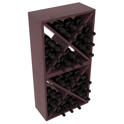 Karnes Pine Rustic Cube 48 Bottle Floor Wine Rack Finish: Burgundy Satin