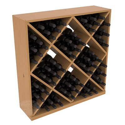 Karnes Pine Diamond Cube 82 Bottle Floor Wine Rack Finish: Oak Satin