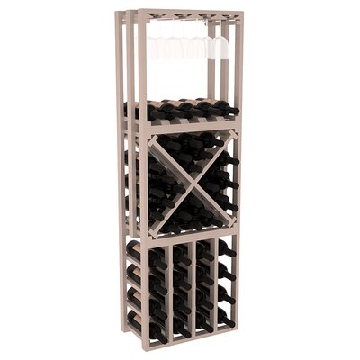 Karnes Pine Lattice Stacking Cube 45 Bottle Floor Wine Rack Finish: Gray Satin