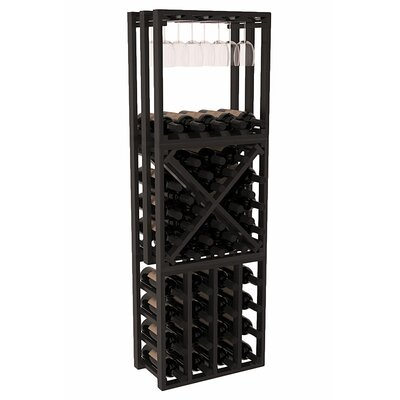 Karnes Redwood Lattice Stacking Cube 45 Bottle Floor Wine Rack Finish: Black Satin