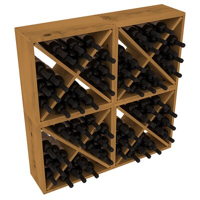 Karnes Pine Rustic Cube 96 Bottle Floor Wine Rack Finish: Oak