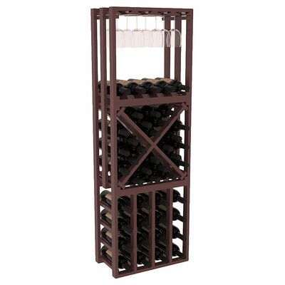 Karnes Pine Lattice Stacking Cube 45 Bottle Floor Wine Rack Finish: Walnut Satin