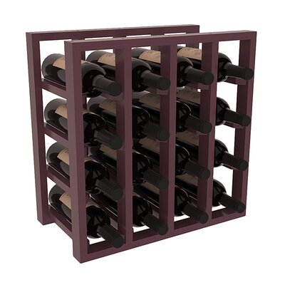 Karnes Pine Lattice 16 Bottle Tabletop Wine Rack Finish: Burgundy Satin