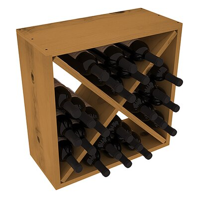 Karnes Pine Rustic Cube 24 Bottle Tabletop Wine Rack Finish: Oak