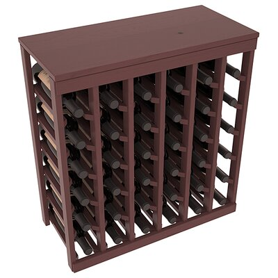 Karnes Pine 36 Bottle Floor Wine Rack Finish: Walnut Satin