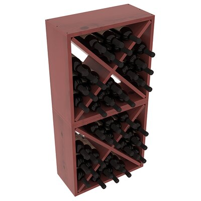 Karnes Pine Rustic Cube 48 Bottle Floor Wine Rack Finish: Cherry Satin