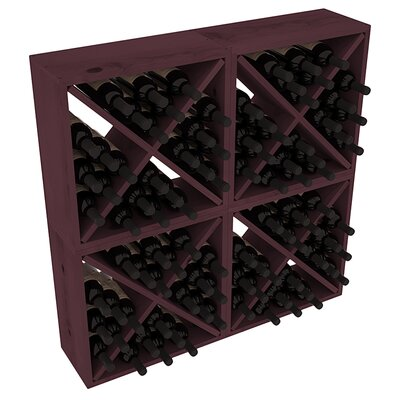Karnes Pine Rustic Cube 96 Bottle Floor Wine Rack Finish: Burgundy