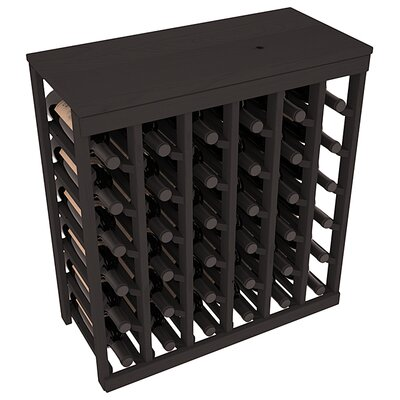 Karnes Pine 36 Bottle Floor Wine Rack Finish: Black