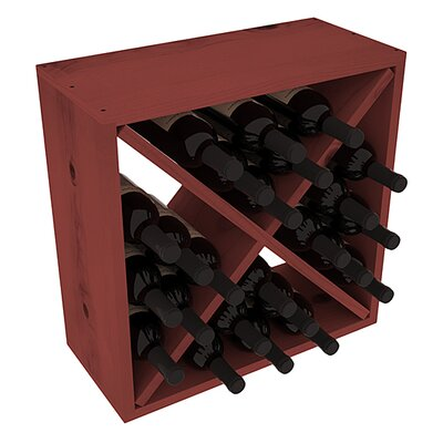 Karnes Pine Rustic Cube 24 Bottle Tabletop Wine Rack Finish: Cherry