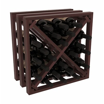 Karnes Redwood Lattice X-Cube 24 Bottle Tabletop Wine Rack Finish: Walnut Satin