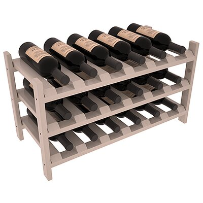 Karnes Pine Stackable 18 Bottle Tabletop Wine Rack Finish: Gray Satin