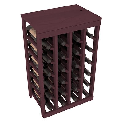 Karnes Pine 24 Bottle Floor Wine Rack Finish: Burgundy