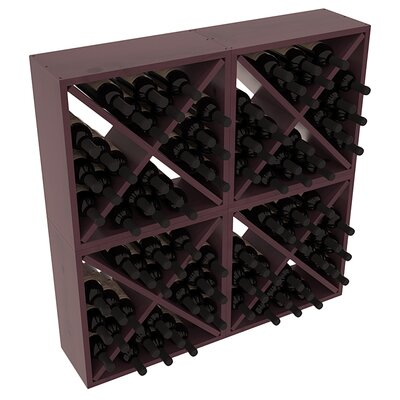 Karnes Pine Rustic Cube 96 Bottle Floor Wine Rack Finish: Burgundy Satin