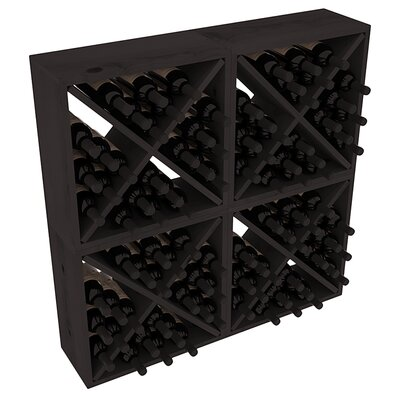 Karnes Pine Rustic Cube 96 Bottle Floor Wine Rack Finish: Black