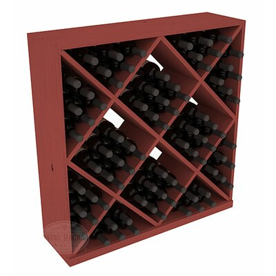 Karnes Pine Diamond Cube 82 Bottle Floor Wine Rack Finish: Cherry