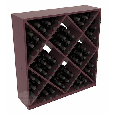 Karnes Pine Diamond Cube 82 Bottle Floor Wine Rack Finish: Burgundy Satin
