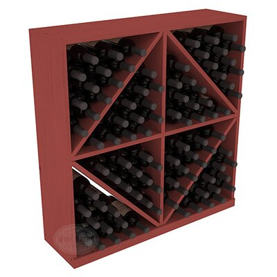 Karnes Pine Diamond Storage 96 Bottle Floor Wine Rack Finish: Cherry
