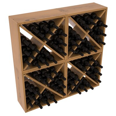 Karnes Pine Rustic Cube 96 Bottle Floor Wine Rack Finish: Oak Satin