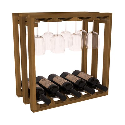 Karnes Redwood Lattice Stemware Cube 10 Bottle Tabletop Wine Rack Finish: Oak
