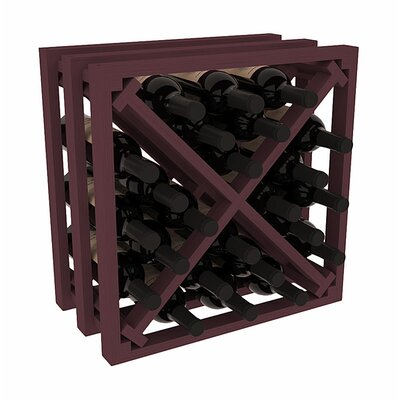 Karnes Pine Lattice X-Cube 24 Bottle Tabletop Wine Rack Finish: Burgundy