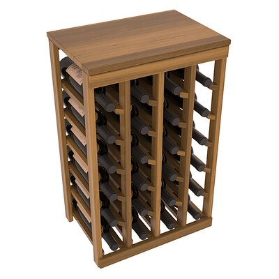 Karnes Redwood Table Top 24 Bottle Floor Wine Rack Finish: Oak Satin