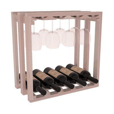Karnes Redwood Lattice Stemware Cube 10 Bottle Tabletop Wine Rack Finish: Gray Satin