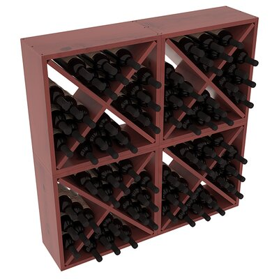 Karnes Pine Rustic Cube 96 Bottle Floor Wine Rack Finish: Cherry Satin