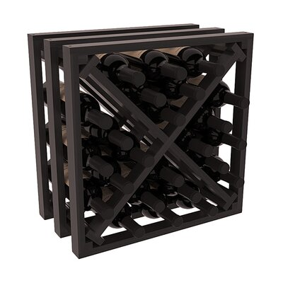 Karnes Redwood Lattice X-Cube 24 Bottle Tabletop Wine Rack Finish: Black Satin