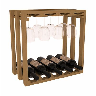 Karnes Pine Lattice Stemware Cube 10 Bottle Tabletop Wine Rack Finish: Oak