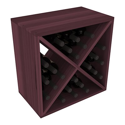 Karnes Redwood X-Cube 24 Bottle Tabletop Wine Rack Finish: Burgundy